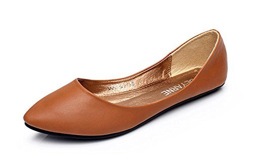 Aisun Damen klassische Lederoptik Low-Cut Spitz Slipper Ballerinas
