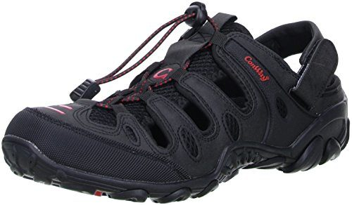 ConWay Damen Herren Trekkingsandalen Outdoorschuhe schwarz/rot, Größe:42;Farbe:Schwarz