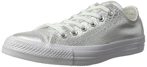 Converse Damen Schuh Chuck Taylor Ox Schlangenhautmuster Silber / weiß