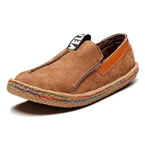 Damen Espadrilles, Tezoo Hausschuhe Slipper Mokassins Bootsschuhe Flache Schuhe Ultra Weich Bequem Komfortabel (Größe Kleiner als Normal) Braun Gelb