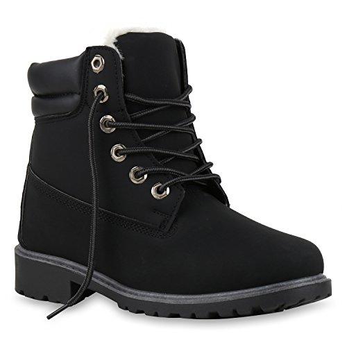 Damen Herren Unisex | Warm Gefütterte Stiefeletten | Outdoor Worker Boots |Schnürboots Profilsohle | Winterschuhe Camouflage | Kunstfell Nieten Blumen | Animal Prints Übergrößen | Flandell®