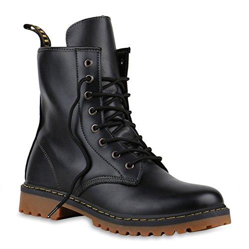 Damen | Herren | Unisex |Worker Boots | Profilsohle Stiefeletten | Schnürstiefeletten Leder-Optik| Robuste Schnürboots | Blockabsatz Stiefel |Übergrößen | Flandell®