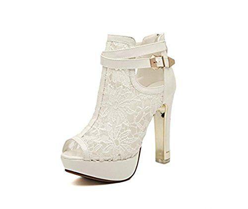 Damen Peep Toe Pumps Stiletto Sling Sandale mit Riemchen Sohle aus Metall Weiß Schwarz
