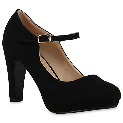 Damen Pumps T-Strap | Blockabsatz High Heels | Damenschuhe Mary Janes | Samt Velours Glitzer | Spangenpumps Lack Leder-Optik | Flandell®