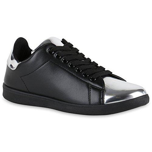 Damen Sneakers | Sneaker Low Metallic Cap | Sportschuhe Leder-Optik Glitzer | Freizeit Schnürer Prints Samt | Trainers Allyear | Flandell®