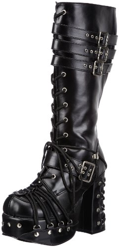 Demonia CHARADE-206 Damen Stiefel, Schwarz (Blk Vegan Leather), EU 38 (UK 5) (US 8)