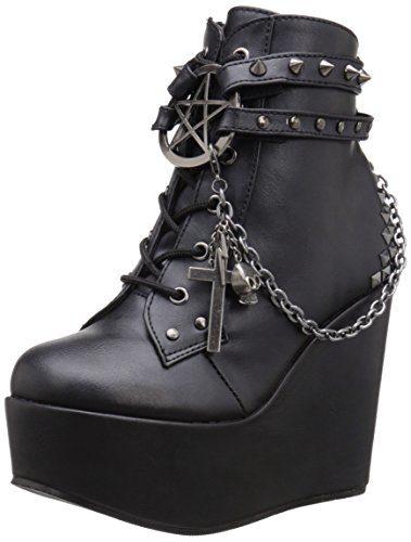 Demonia Damen Poison-101 Kurzschaft Stiefel, Schwarz (Schwarz (Blk Vegan Leather)), 41 EU