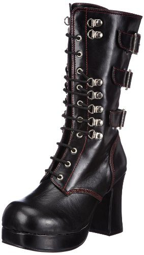 Demonia GOTHIKA-101 Damen Stiefel, Schwarz (Blk Vegan Leather), EU 39 (UK 6) (US 9)