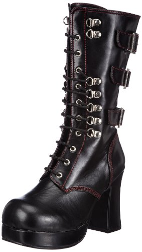 Demonia GOTHIKA-101 Damen Stiefel, Schwarz (Blk Vegan Leather), EU 39 (UK 6) (US 9)