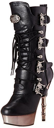 Demonia MUERTO-1026, Damen Halbschaft Stiefel, Schwarz (Schwarz (Blk Vegan Leather/Pewter Chrome)), 38 EU (5 Damen UK)