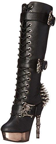 Demonia MUERTO-2028, Damen Langschaft Stiefel, Schwarz (Schwarz (Blk Vegan Leather/Pewter Chrome)), 38 EU (5 Damen UK)