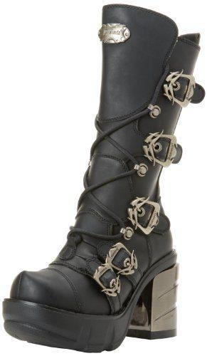 Demonia SINISTER-203, Damen Halbschaft Stiefel, Schwarz (Schwarz (Blk Vegan Leather)), 40 EU (7 Damen UK)