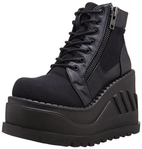 Demonia STOMP-10 STO10/BCA-VL, Blk Canvas-Vegan Leather, 40 EU