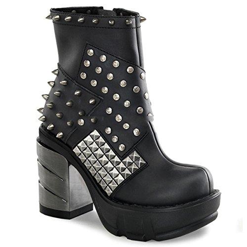 Demonia Sinister-64 - Gothic Industrial Metall High Heels Stiefelette Schuhe 36-43, Größe:EU-43 / US-12 / UK-9