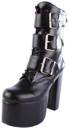 Demonia TORMENT-703, Damen Halbschaft Stiefel, Schwarz (Schwarz (Blk Vegan Leather)), 39 EU (6 Damen UK)