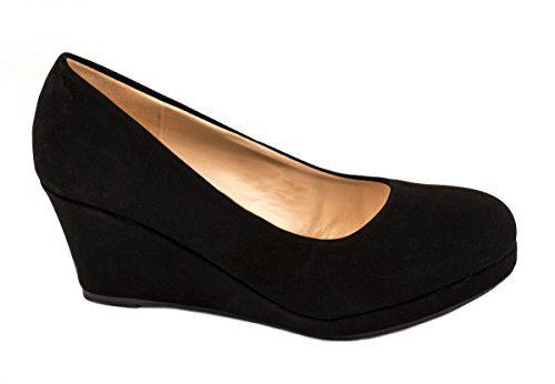 Elara Damen Pumps Keilabsatz Wedges Schuhe mit Plateau