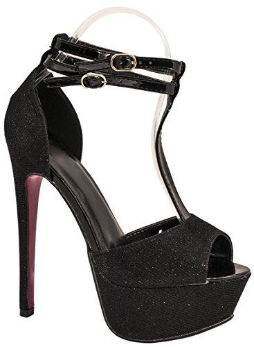 Elara Plateau Pumps | Party Stiletto High Heels | T-Strap Riemchen Glitzer