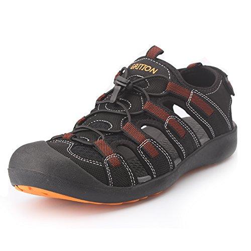 GRITION Herren Outdoor Sandalen Größe Sport Wandern Sandalen Schnell Trocken Toecap Sommer Schuhe Orange / Schwarz