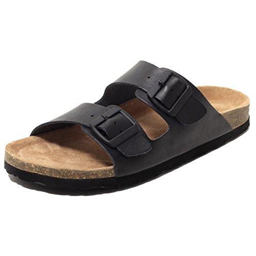 Herren Bio Pantoletten Tieffußbettpantoletten Sandalen ECHTES LEDER schwarz Gr. 44