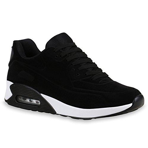 Herren Sportschuhe Leder-Optik | Sneakers Velours Glitzer | Metallic Runners | Freizeitschuhe Schnürer | Flandell®