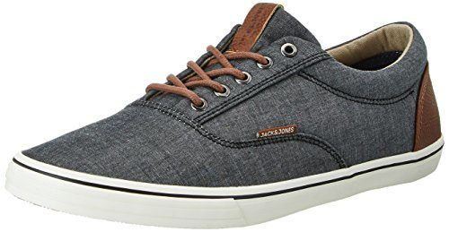 JACK & JONES Herren Jfwvision Chambray Mix Anthracite Low-Top