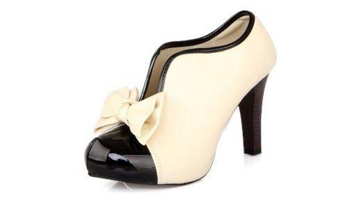 LATH.PIN® Vintage Damen Schuhe Pumps High Heels Beige Brautschuhe mit Schleife Stilettosabsatz