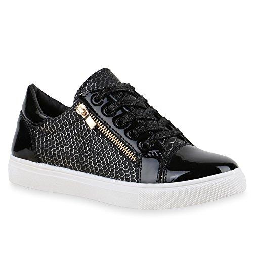 Metallic Damen Sneakers | Lack Sneaker Low | Glitzer Schuhe Muster | Turnschuhe Zipper Animal Prints | Freizeitschuhe Sportschuhe| Damenschuhe Leder-Optik | Flandell®
