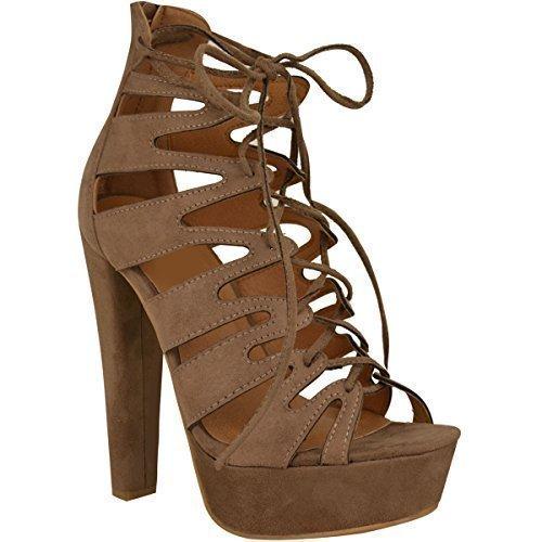 New Womens Damen High Heels Plattform Gladiator Sandalen Schnür Stiefel Schuh Größe