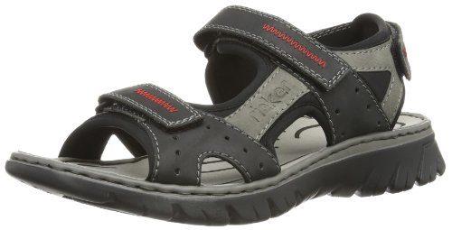 Rieker 26757 Sandals-Men, Herren Sandalen, Schwarz (schwarz/cement/schwarz/00), 44 EU