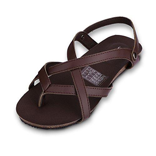 Sibba Zehentrenner Sandale und Pantoffeln 2 in 1 Sommer Einstellbare Flachschuhe Schwarz/Braun