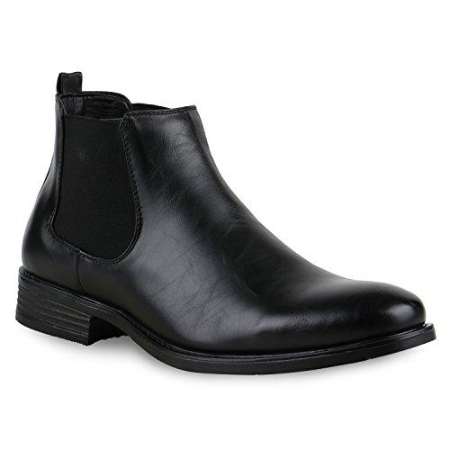 Stylische Herren Stiefeletten | Chelsea Boots | Business Schuhe Leder-Optik | Knöchelhohe Stiefel | Flandell®