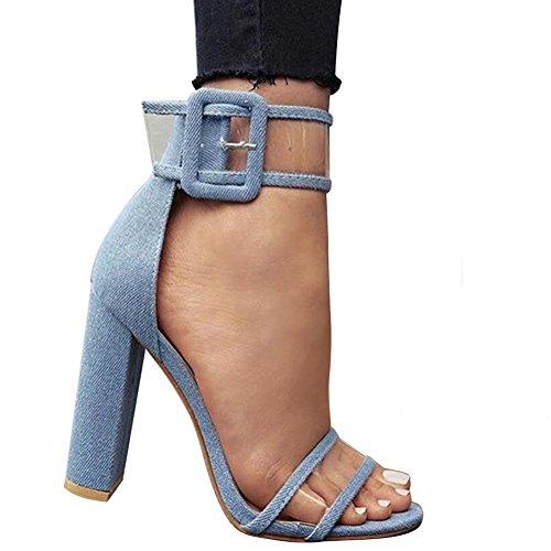 Veloursleder Sandalen mit Absatz Riemchen Pumps High Heels Plateau Offene Transparent Schuhe Damen