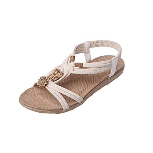 YOUJIA Damen Strand Sandale Casual Peep-Toe Flache Sandalen Schuhe Sommer Sandalen