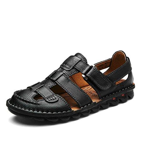 Yaer Herren Leder Sandalen Strandschuhe Für Männer Mit Klettverschluss Sommer Herrenschuhe Größe EU38-EU44(Schwarz,2 Farbe,EU44)