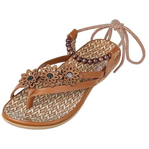 ZOEREA Damen Sandalen Böhmen Schuhe Blume Knöchelriemen Roman Geflochtene T-Strap Gladiator Sandalen