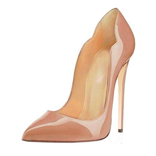 uBeauty Damen High Heels Stilettos Slip-on Pumps Spitze Zehen Klassischer Übergröße Schuhe Beige 34 EU