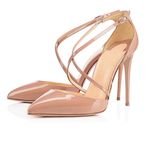uBeauty Damen Stilettos High Heels Corss Ankle Strap Pumps Übergröße Seite Hohl T-Spangen Schnalle Schuhe Natur 37 EU