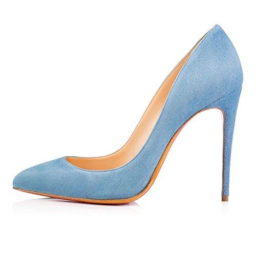 uBeauty Damen Slip On Stilettos High Heels Pumps Geschlossene Spitze Zehen Übergröße Klassischer Schuhe Blau Nubukleder 38 EU