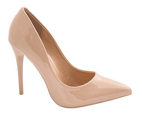Elara Spitze Damen Pumps | Bequeme Lack Stilettos | Elegante High Heels Größe 39, Farbe Nude