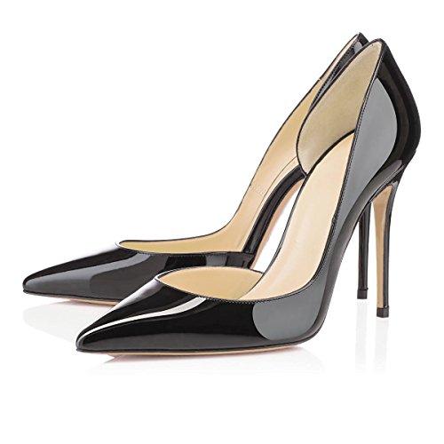 uBeauty Damen Stilettos Slip On Klassische Seite Hohl Pumps High Heels Übergröße Glitzer Schuhe Schwarz Lackleder 43 EU