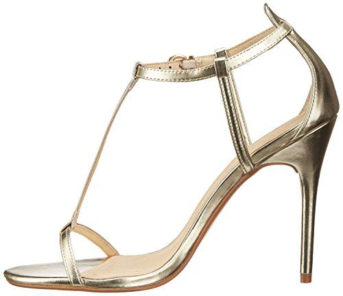 uBeauty Damen Stiletto T-Spangen Übergröße Sandalen Glitzer High Heels Open Toe Ankle Buckle Pumps Gold PU EU 37