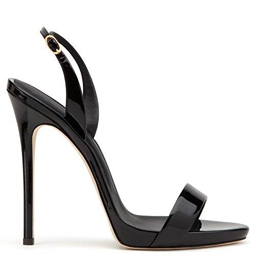 uBeauty Damen Knöchelriemchen Sandalen Mit Schnalle Peep Toe Stiletto Sexy Sandalen Große Größe Schuhe Schwarz 39 EU