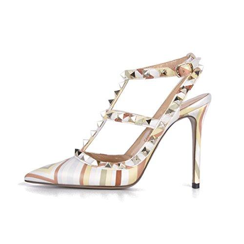 Onlymaker Damen Sandalen Pumps Pointed Toe High Heels mit Nieten Slingback Schnalle Mehrfarbig EU44