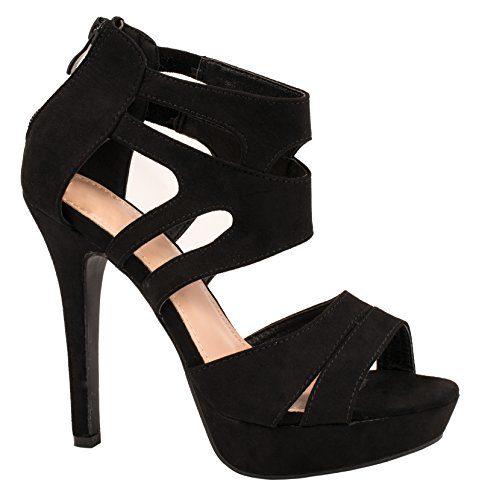 Elara Damen Pumps | Moderne Cut Out Stilettos | Wildlederoptik High Heels | chunkyrayan (42, Schwarz)