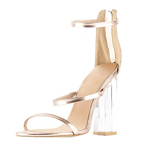 Damen Sandalen Open Toe Lackleder High-Heels Blockabsatz Knöchelriemchen Gold EU40