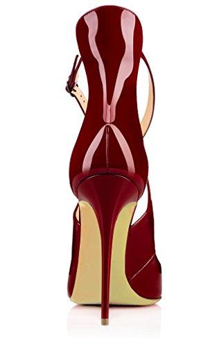uBeauty Damen High Heels Cross Strap Klassische Pumps Geschlossene Spitze Zehen Übergröße Schuhe Rot 39.5 EU