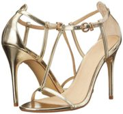uBeauty Damen Stiletto T-Spangen Übergröße Sandalen Glitzer High Heels Open Toe Ankle Buckle Pumps Gold PU EU 37