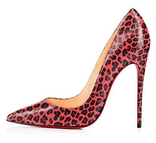 uBeauty Damen High Heels Stilettos Slip-on Pumps Spitze Zehen Klassischer Übergröße Leopard Pumps 40.5 EU