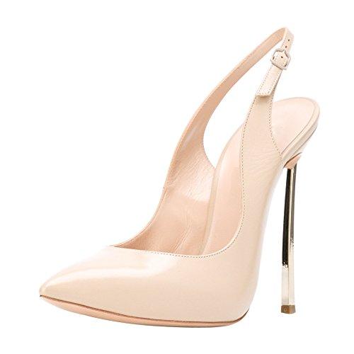 Damen Pumps Sandalen Spitze Zehen High-Heels Stiletto Slingback Gold Absatz Nude EU36