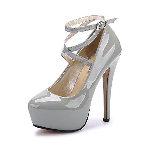Ochenta Damen Glitzerschuh Bride Knöchel sexy High Heel Plattform Dick Schnürverschluss schuhe Club Soiree, - (Beige Sole) PU Grey - Größe: Asiatique 43-EU Taille 42.5